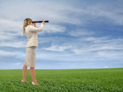 BusinessWomanWithTelescope
